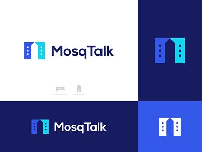 MosqTalk Logo chatting realestate building minar mosque chat communication conversation talk symbol icon illustration logo designer logotype negative space logo design brand identity identity branding application app