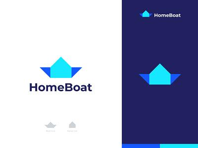 HomeBoat Logo clever brandmark logomaker logo designer logo design logo agency creative real estate house home ship boats boat negative space brand identity branding icon symbol sign