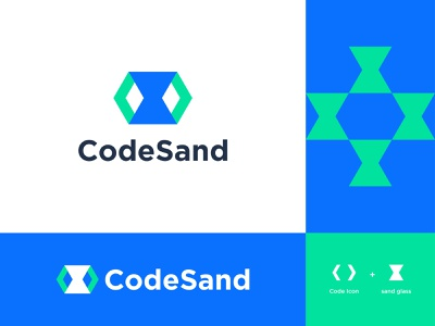 CodeSand Logo modern negative space websites sand glass sand clock hourglass website html css brackets startup logotype logo design logo identity development colorful coding code branding identity branding