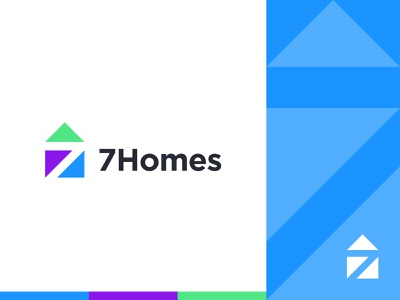 7Homes - Logo branding and identity colorful identity designer 7 number home logo 7 logo 7 home illustration visual identity minimal logotype logos logodesign mark logo real estate house home graphic designer branding
