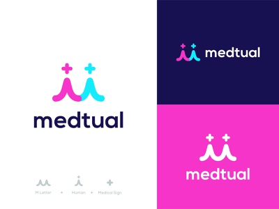 Medtual Logo cross lettermark m startup care people web logodesign mutual health clever pharmacy hospital medical logotype logo design identity branding brand