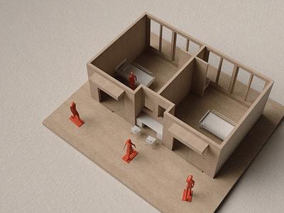 A study of Decentralised Nursing strategies plastic wood maquette interior healthcare architecture
