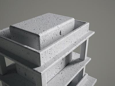 Construction; Concrete punchy concrete maquette massing architecture