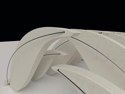 Brise Soleil; Walkway; Concrete snow concrete maquette columns shade walkway architecture