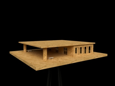 Maquette; Cantilevered Roof shelter wood civic public architecture maquette