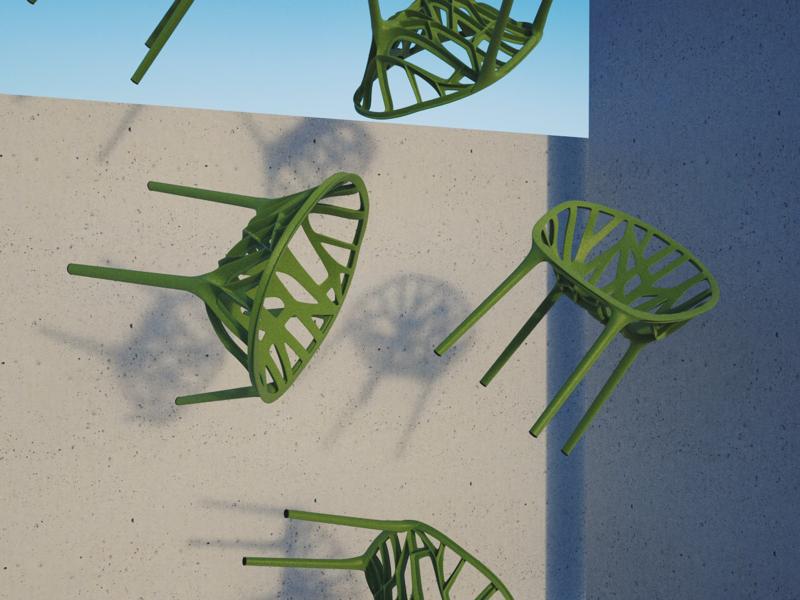 Study; Comp Test; Vegetal concrete dropping vegetal vitra furniture scene