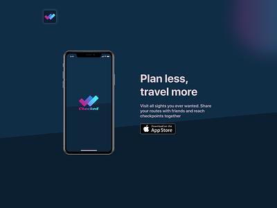 Checked - Travel App behance landing page kano cjm segments personas ux research logo design figma ios app travel ux ui