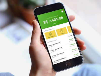 Mobile app with account balance and statements corporate green yellow money list statement mobile app
