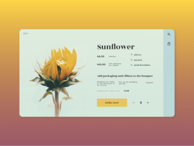 Sunflower product card shopping ux card web design