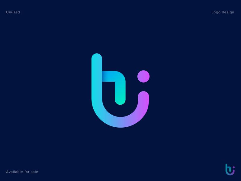 H + I Logo Design (Unused for Sale) tech logo abstract vector app icon marketing concept social media letter design 3d logo letter logo h letter monogram symbol logo mark modern gradient logo designer branding illustration