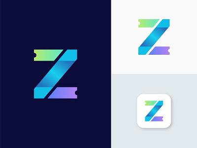 Z Letter - Ticketing Platform lettermark 3d logotype ticket logo minimalist logo designer mark brand identity redesign creative branding logo design illustration z logo icon app abstract logo letter logo z letter