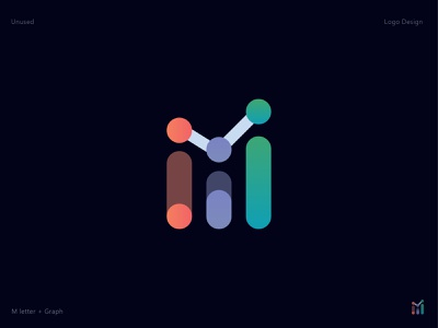 Letter M + Graph Chart Logo brand identity illustraion vector minimalist simple logo designer creative chart gradient branding rebranding m icon app abstract logo design logo graph letter mark letter logo