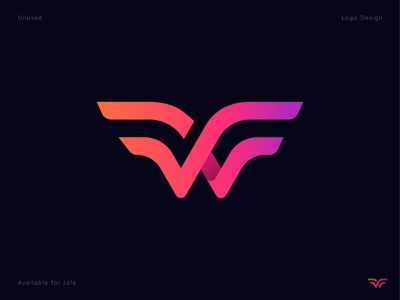 W for Wing lettermark mark illustration letter logo creative design logo wing wave unused minimal letter w icon gradient connection branding identity arrow app 3d abstract