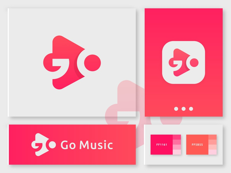 Go letter + Play icon Concept concept 3d modern gradient play music go presentation colorful mark vector icon app letter logo creative illustration logo design abstract branding logo