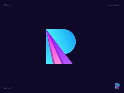 R letter mark logotype colorful r letter startup business gradiant technology modern gradient vector mark icon app letter logo creative branding abstract logo design logo