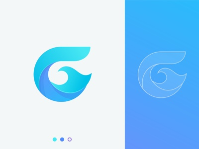 G letter ( Surfing business ) lettermark modern logotype design ocean logo geometric logo mark surf waves abstract app icon app logo mark illustration creative letter logo logo branding identity gradient letter g