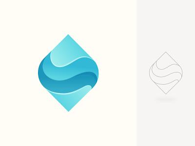 Letter S + Wave brand mark branding symbol letter s vector mark creative logo design logo illustration wave sea ocean blue curve abstract modern gradient