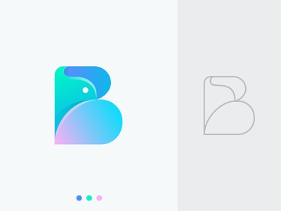 B for Bird clean logo mark illustration design logotype creative logo lettering minimal icon modern logo gradient abstract logo design branding logo monogram lettermark letter logo letter b