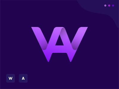 WA letter logo startup logo business concept clean purple o p q r s t u v w q y z a b c d e f g h i j k l m n logo designer modern app icon illustration gradient creative logo abstract logo design branding logo letter mark letter logo
