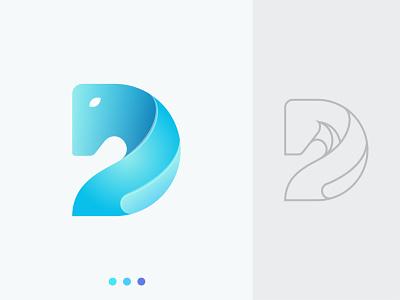 Letter D + Horse ocean wave clean brand identity logodesign geometic 3d letter d horse modern logotype mark illustration letter logo creative abstract logo design branding logo