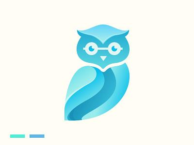 Owl logo business modern vector illustration abstract logo design branding creative curve ocean blue owls bird icon mark symbol animal simple logo owl
