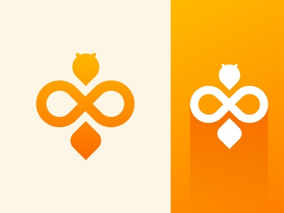 Bee - Logo design trendy logo color gradient new cute modern minimal flat design illustration creative abstract brand honey cute logo logo design logo branding animal bee