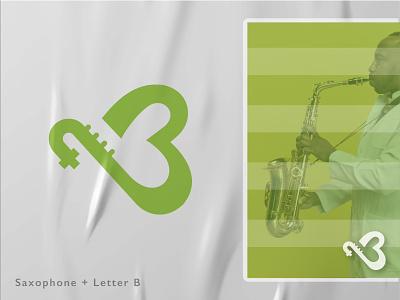 Saxophone + Letter B b clean logo simple minimal modern logo creative logo vector design letter logo instrument audio music letter b saxophone illustration abstract creative logo design branding logo