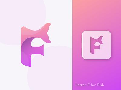 F for Fish gradient logo lettering clean logo modern logo minimal vector design letter o p q r s t u v w x y z a b c d e f g h i j k l m n letter logo illustration abstract creative logo design branding logo