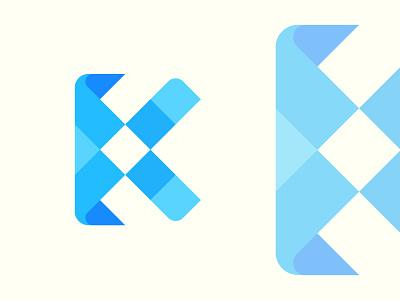 Letter K + Pixel letter b c f h i j k m p q r u v w y z modern logo brand identity vector design letter logo abstract creative logo design logo technology tech brand branding smooth color pixel letter k