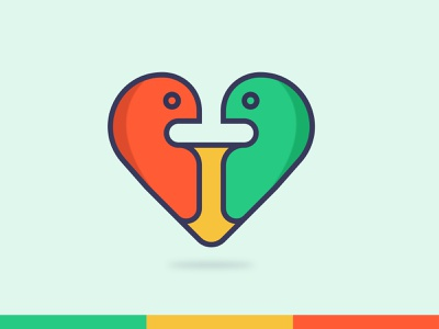 Love + Bird cute animal color modern logo minimal logo flat love heart design line art mascot bird illustration abstract creative logo design branding logo