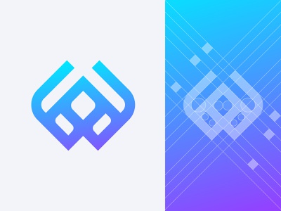 Letter W - Logo design blue color grid logo logo symbol corporate brand indentity tech trendy modern logo elegant logo creative letter l m n o p q r s t u v w a b c d e f g h i j k letter logo icon wordmark logo mark monogram design