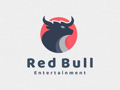 Red Bull - Animal logo strong bull negative space horn animal logo mark logotype flat creative illustration logo design logo branding corporate business logo startup crypto logo