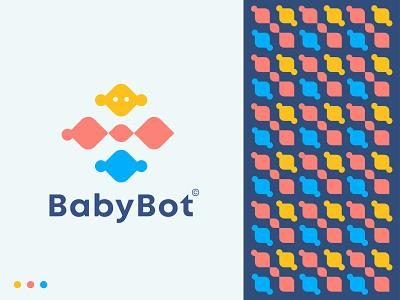 Baby Bot logo design logo app icon logo modern logo concept shape geometric crypto logo color flat logo design abstract creative gamefi game technology tech logo robot logo mark minimal
