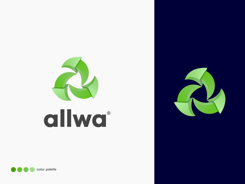 allwa - logo design trendy logo abstract logo design modern 3d logo lettermark marketing concept vector typography illustration branding brand identity design letter logo a logo icon app