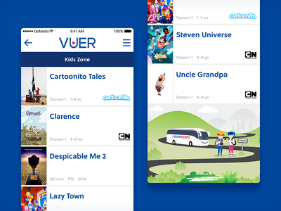 VUER - Kids section user interface user experience ui ux onboard entertainment national express vuer ux ui kids infotainment illustration entertainment