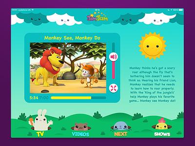 JimJam iPad app concept jimjam ipad app user experience user interface ui ux kids ux ui illustration