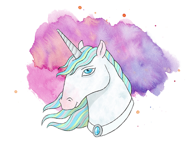 Unicorn ipad pro watercolor kids illustration children book kids book photoshop procreate drawing illustration