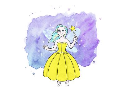Yellow fairy ipad pro watercolor kids illustration children book kids book fairy photoshop procreate drawing illustration