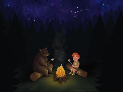 Fire Camp ipad pro digital drawing digital art drawing nature children kids illustration photoshop procreate