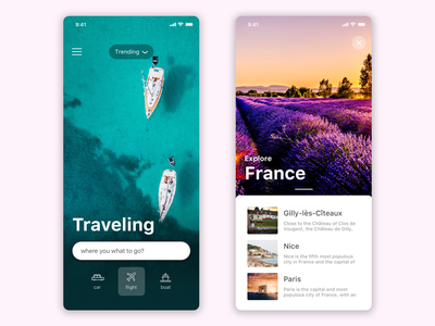 Traveling search and discovery app typography design travel app cards ux ui ios app travelling traveling