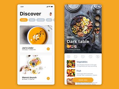 Restaurant booking app food restaurant booking interface typography design cards ux ui ios app