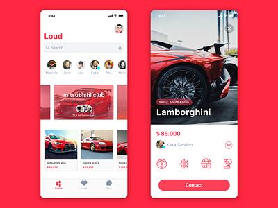 Cars marketplace app typogaphy app concept user interface design cards ux ui ios app motors cars car