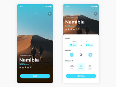Booking experience app traveling travel brown blue userexperience userinterface design typography ux ui ios app