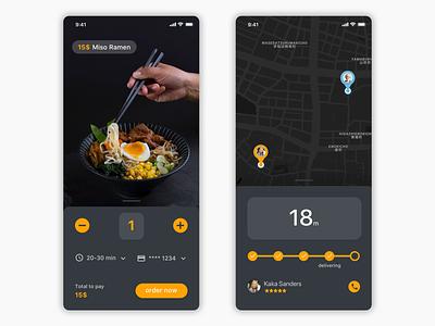 Dark UI - Delivery app concept ramen tokyo delivery food ux ui ios app dark app dark ui dark
