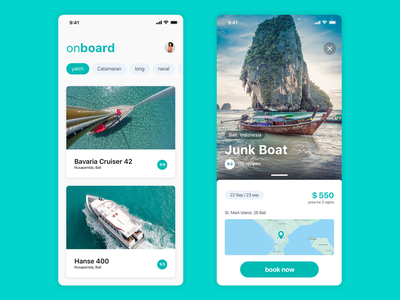 Boat booking app user interface mobile design typography cards ux ui app ios