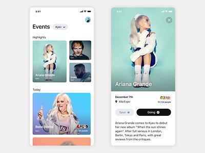 Events RSVP app rvsp booking music concert typography design cards ux ui app ios