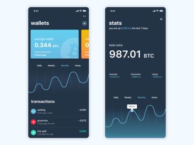 Bitcoin wallet dark UI