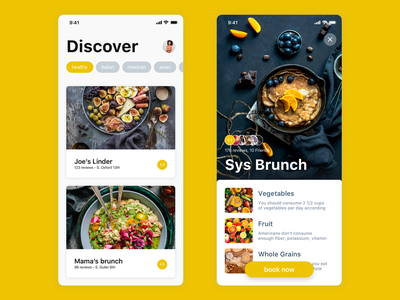 Restaurant booking app yellow user experience user interface restaurant design restaurant app food restaurant ux ui ios app