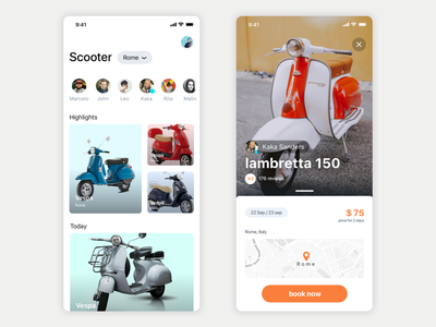 Scooter renting app motos maps lambretta vespa scooter user experience typography user interface cards ux ui ios app