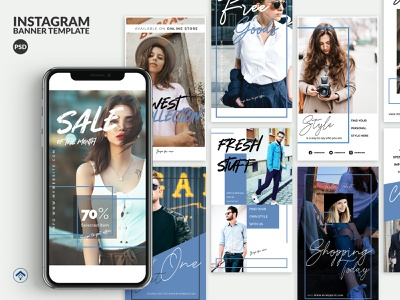 Bluesky - Fashion Instagram Stories Template brutalist design layout design banner ad blogger inspiration creative promotion template fashion web banner instagram stories